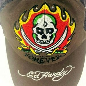 Ed Hardy snap back brown hat Free Forever